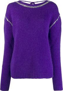 Rochas Suéter Com Acabamento De Aplicações - Roxo