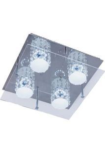 Plafon Glacial Cristal Led 32X32Cm 4X10W 127V Acrílico Jateado Com Cristais Bronzearte