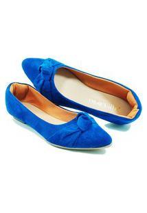 Sapatilha Confort - Enfeite De Nó - Camurça Azul Bic
