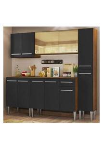 Cozinha Completa Madesa Emilly West Com Balcão, Armário Vidro Reflex E Paneleiro - Rustic/Preto Cor:Rustic/Preto