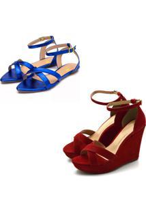 Kit Sandã¡Lia Anabela Aberta Salto Alto E Sandã¡Lia Rasteira Aberta Tiras - Vermelho/Azul - Azul/Vermelho - Feminino - Dafiti