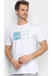 Camiseta Hurley Silk Sig Zane Kalaukoa Masculina - Masculino-Branco