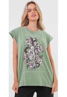 Camiseta Colcci Floral Verde - Verde - Feminino - Algodã£O - Dafiti