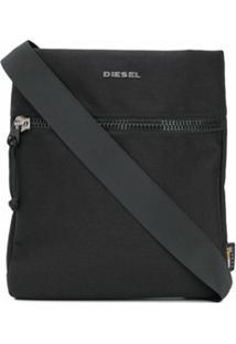 Diesel Bolsa Carteiro Com Placa De Logo - Preto