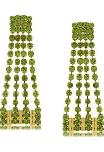 Brinco Vertical Quatro Fios Em Cristais 3Rs Semijoias Dourado - Dourado - Feminino - Dafiti