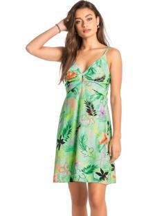 Vestido Verde Evasê Tropical