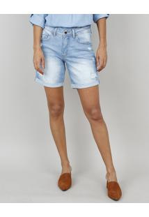 Bermuda Jeans Feminina Midi Destroyed Azul Claro