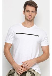 Camiseta Calvin Klein Faixa Logo Masculina - Masculino-Branco