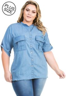 Camisa Feminina Jeans Básica Manga Curta Plus Size