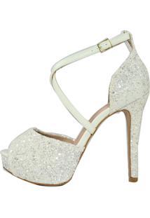 Sandália Salto Alto Meia Pata Week Shoes Tornozeleira X Glitter Off White