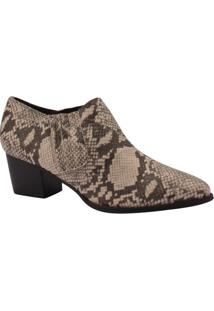 Ankle Boot Textura Animal- Bege & Marrom- Salto: 5,5Via Uno