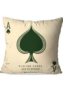 Capa De Almofada Avulsa Decorativa Ace Of Spades 45X45Cm