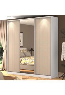 Guarda-Roupa Casal 3 Portas Correr 1 Espelho 100% Mdf Rc3003 Branco/Noce - Nova Mobile
