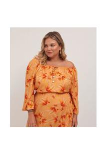 Bata Floral Em Viscose Com Amarração Curve E Plus Size Amarelo