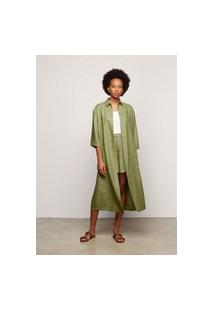 Vestido Chemise Em Tecido De Viscose - Verde