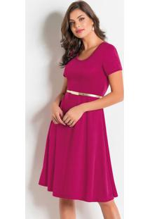 Vestido Evasê Moda Evangélica Marsala