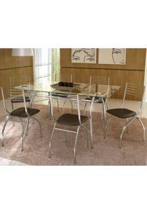 Mesa 379 Com Vidro Incolor Cromada Com 6 Cadeiras 146 Cacau Carraro