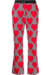 Love Moschino Calça Cropped Com Estampa De Coração - Vermelho