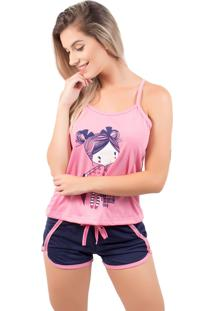 Baby Doll Bella Fiore Modas Pijama Gabriela Regata Rosa - Tricae