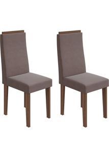 Conjunto Com 2 Cadeiras Dafne Imbuia E Rose