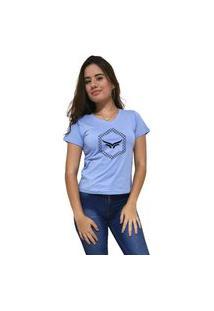 Camiseta Feminina Gola V Cellos Hexagonal Premium Azul Claro
