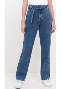 Calça Jeans Reta Com Cinto