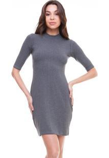 a4f74a4a89 Vestido Cinza Gola Alta feminino