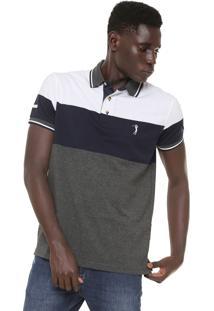 ... Camisa Polo Aleatory Reta Listrada Cinza Branco e8d86ceb77d52