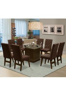 Mesa Para Sala De Jantar Saint Louis Com 8 Cadeiras – Dobuê Movelaria - Castanho / Chocolate