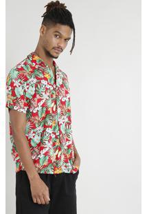 Camisa Masculina Manga Curta Estampada Floral Tropical Vermelha