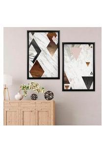 Quadro Com Moldura Chanfrada Triângulos Preto - Médio