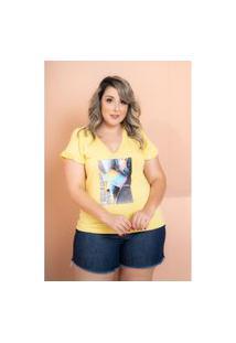 T-Shirt Babado Com Aplicaçáo Amarelo Plus Size 56 Maria Rosa Plus Blusas Amarelo