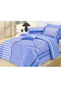 Edredom Queen Azul Cassino 5 Peças 100% Algodão - Aquarela