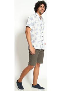 """Camisa Slim Fit """"Coqueiros""""- Off White & Azul Claro-Vip Reserva"""