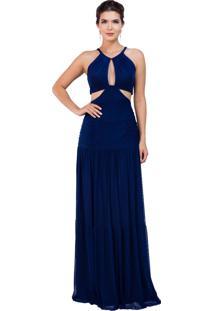 28ae4440e R$ 1752,00. Dafiti Vestido Victor Dzenk Em Tule Liso Longo Azul Marinho