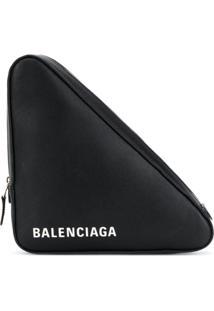 Balenciaga Clutch 'Triangle' De Couro - Preto