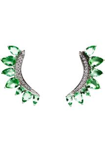 Brinco Ear Cuff Quartzo Esmeralda Em Prata 925