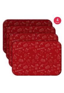 Jogo Americano Love Decor Wevans Elementos Natalinos Vermelhos Kit Com 4 Pçs