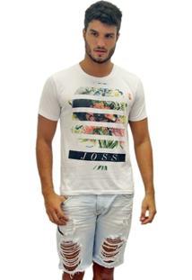 Camiseta Estonada Caveira Flores - Masculino