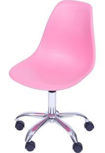 Cadeira Eames Com Rodizio Polipropileno Rosa Pink - 36754 - Sun House