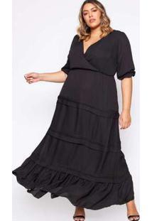 Vestido Almaria Plus Size Pianeta Crepe Preta Preto