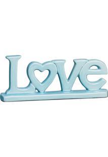 Escultura Decorativa Love Coração Azul Bebê 11X26,5 Cm