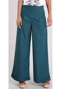 Calça Feminina Pantalona Com Linho E Botão Verde