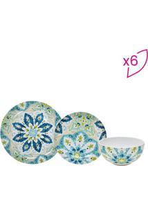 Aparelho De Jantar Hagan- Bege Claro & Azul- 18Pçs