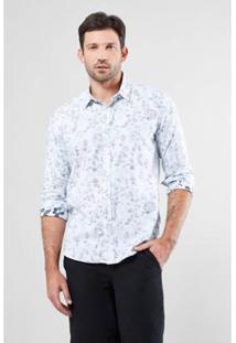 Camisa Regular Reserva Navy Bicolor Masculina - Masculino-Branco