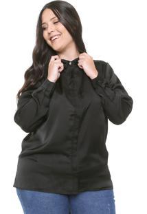 Camisa Gris Plus Renda Preta