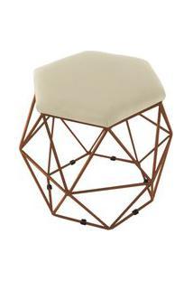 Puff Aramado Bronze Assento Hexagonal Suede Bege - Ds Móveis