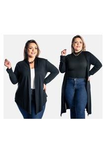 Kit 2 Pçs Cardigan Kimono Plus Size Juquitiba Brasil Preto