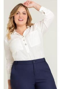 Blusa Ampla Plus Size Off White