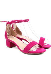 Sandália Via Uno Salto Grosso Amarração Feminina - Feminino-Pink